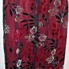 "Women's Long Floral Skirt Multi-Color Sheer Overlay 10 EARTH SONG Textured 37"" L"