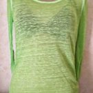 Women's Jrs. AEROPOSTALE Sheer Burnout Lime Long Sleeve Layer Top Blouse S/P