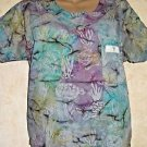 SCRUB MED Multi Color Under Sea Scrub Top M Chest Pocket Watercolor Purple Teal