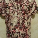 CHRISTOPHER & BANKS Women's Blouse L Linen/Rayon Multi Color Button Short Sleeve