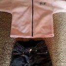 2 PC LOT BG Kids Girl Size 5 Jean Cutoff Walking Short Pink Sweatshirt Zip Sz S
