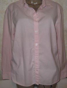 Women's Eddie Bauer L Pink White Stripe Career Casual Stripe Blouse L/S CotnBlnd