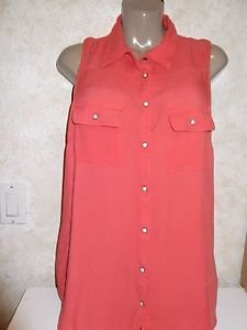 Women's MAURICE'S L Sleeveless Rayon Blouse Solid Colored Melon Opal Snaps