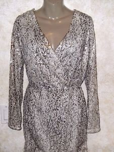 Victoria's Secret Moda International Sequin L/S Beige Ivory Dress S Sexy Evening