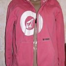 Volcom Pink White Full Zip Hoodie Juniors size Large M Pre-Owned