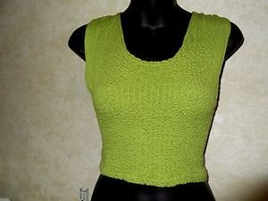 Girls Size Large NO BOUNDARIES Lime Green Tank Sleeveless Top Acrylic Blend