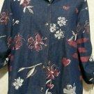 City Blues by Koret lightweight denim flowered button up jacket small 3/4 sleeve