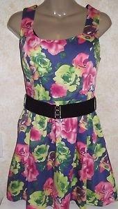 Papaya girls medium dress sleeveless multi-color halter style belted floral