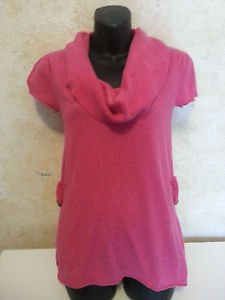Jrs. Converse One Star M Knit Top Mock Neck Casual 100% Cotton Solid Pink Tunic