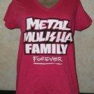 New!! Women's Hot Pink Vneck METAL MULISHA FAMILY FOREVER-Born to Ride M Tshirt