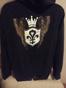 Women's Fleur de Lis Hoodie Full Zip Animal Print Wings Jeweled XL