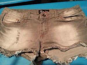 Eighty Eight 88 Stretch Gray  Denim Shorts Size 11 Juniors  Distressed Cutoff