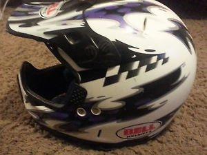 Bell Adult Medium Motocross Helmet DOT Visor White Purple Black ATV Dirt Track