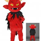 A Red Devil Mascot SpotSound Canada With Black Cape, Horns And Pointy Tail