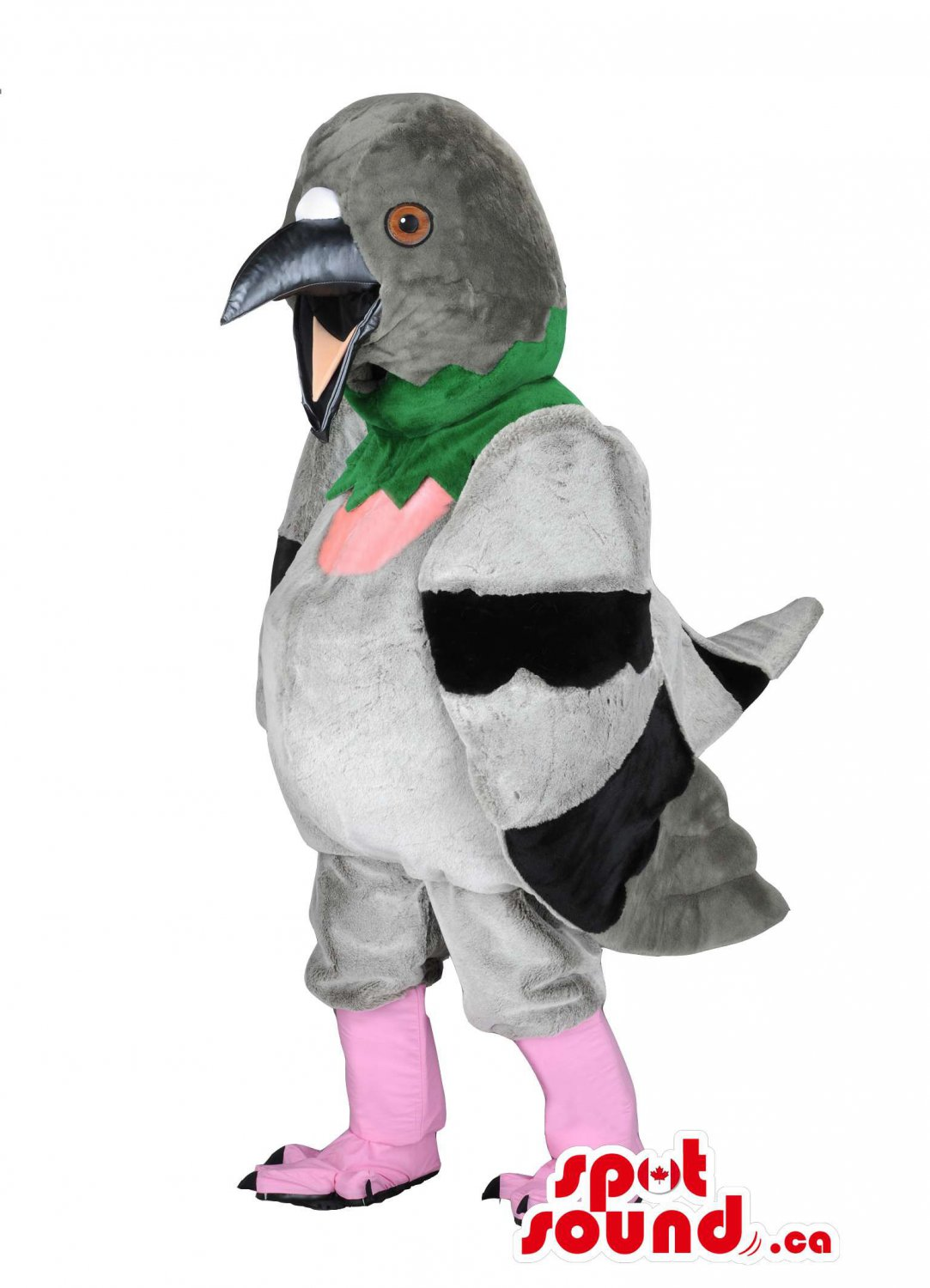 Grey And Green Pigeon Mascot SpotSound Canada With Pink Legs And A Beak