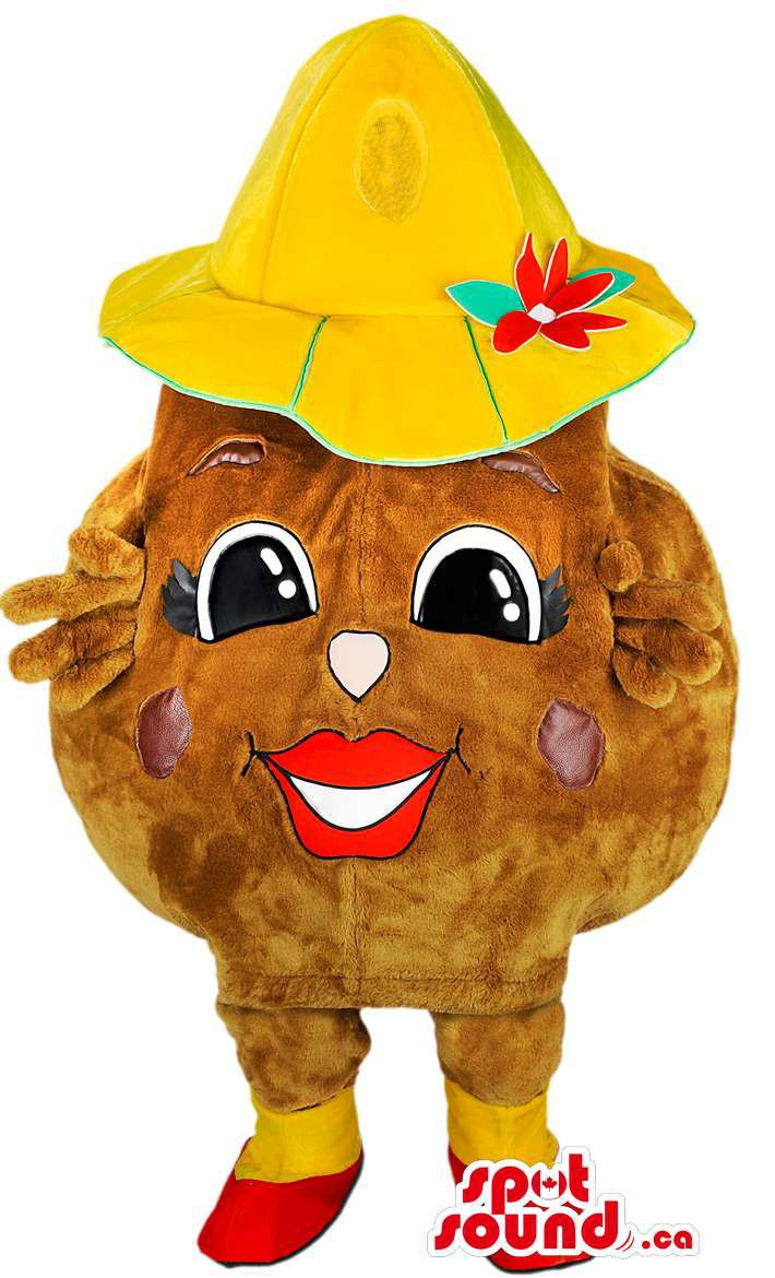 Potato Vegetable Mascot SpotSound Canada With Yellow Hat And Red Shoes