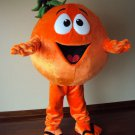 Orange Fruit Mascot SpotSound Canada With Large Eyes And Smile Dressed In Flip-Flops