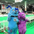 Blue Dog And Purple Cat Pet Mascot SpotSound Canada With Collar Name Tags