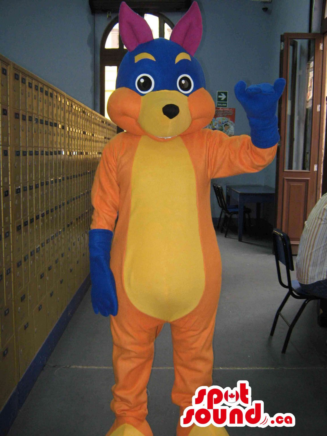 Rabbit Mascot SpotSound Canada With Several Colors Combined And Matching Gloves