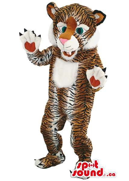 Brown Tiger Mascot SpotSound Canada With Black Stripes, Large Paws And White Belly