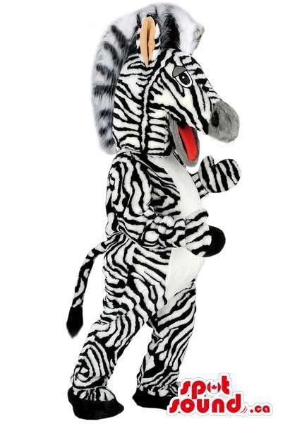 Customised Zebra Mascot SpotSound Canada Animal With Black And White Stripes
