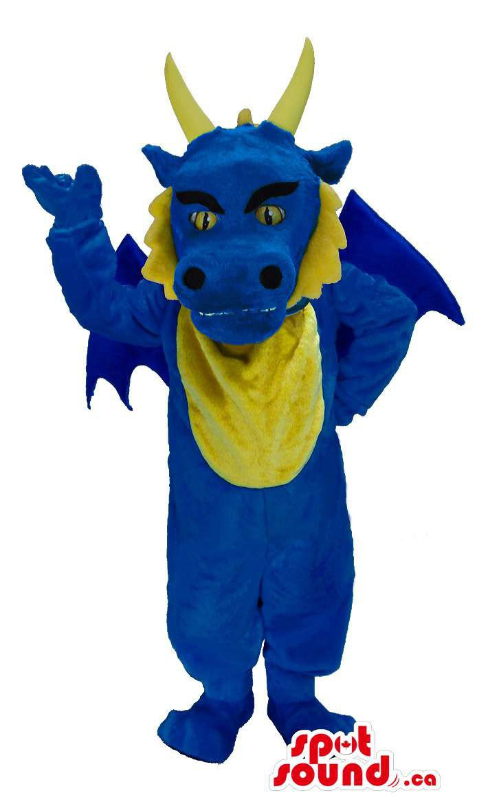 Customised Blue Dragon Plush Mascot SpotSound Canada With Tail And Horns