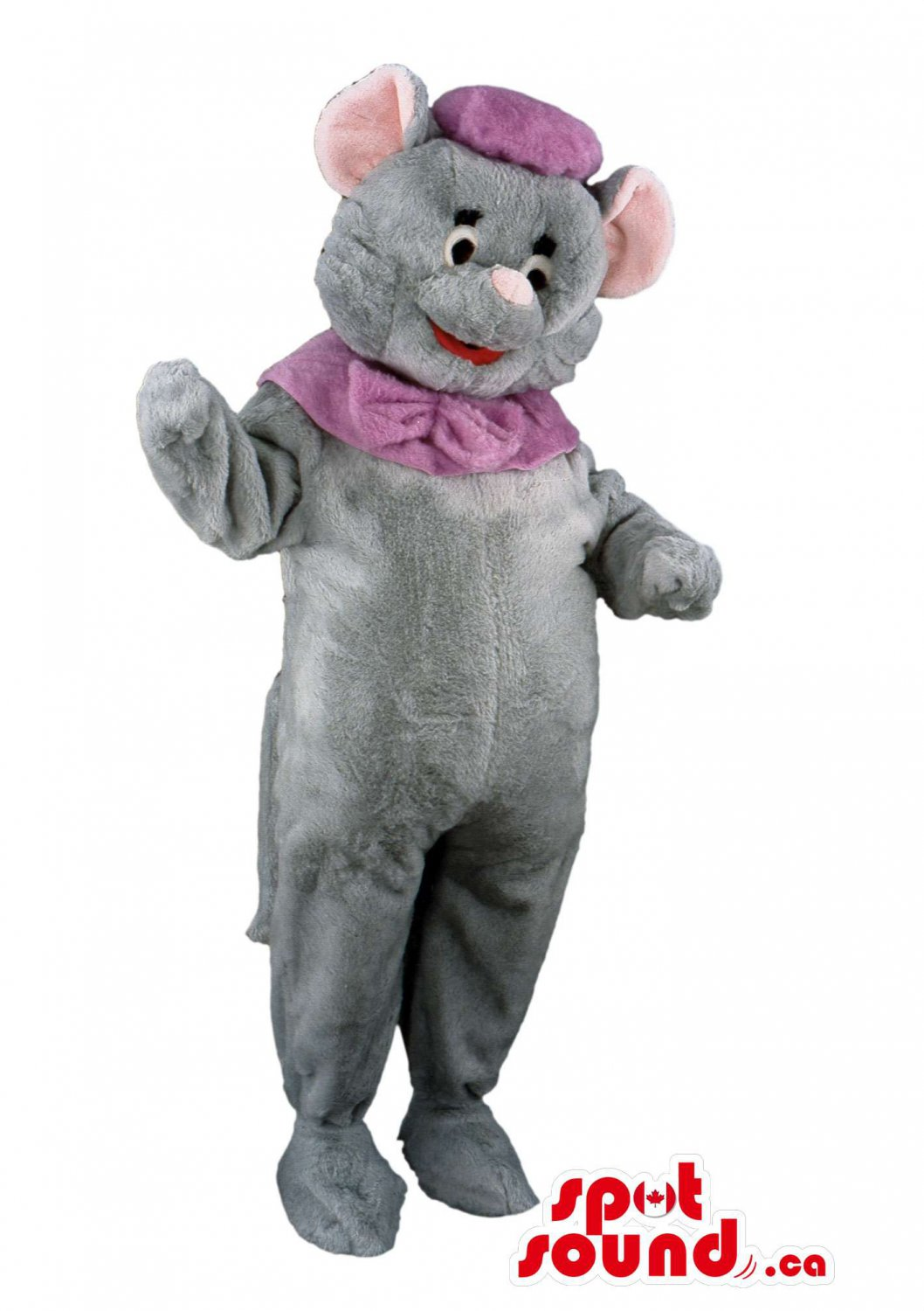 Grey Circus Elephant Mascot SpotSound Canada With Purple Hat And Neck Bow