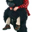 Black Gorilla Mascot SpotSound Canada With Human Walker On Top And Large Eyes