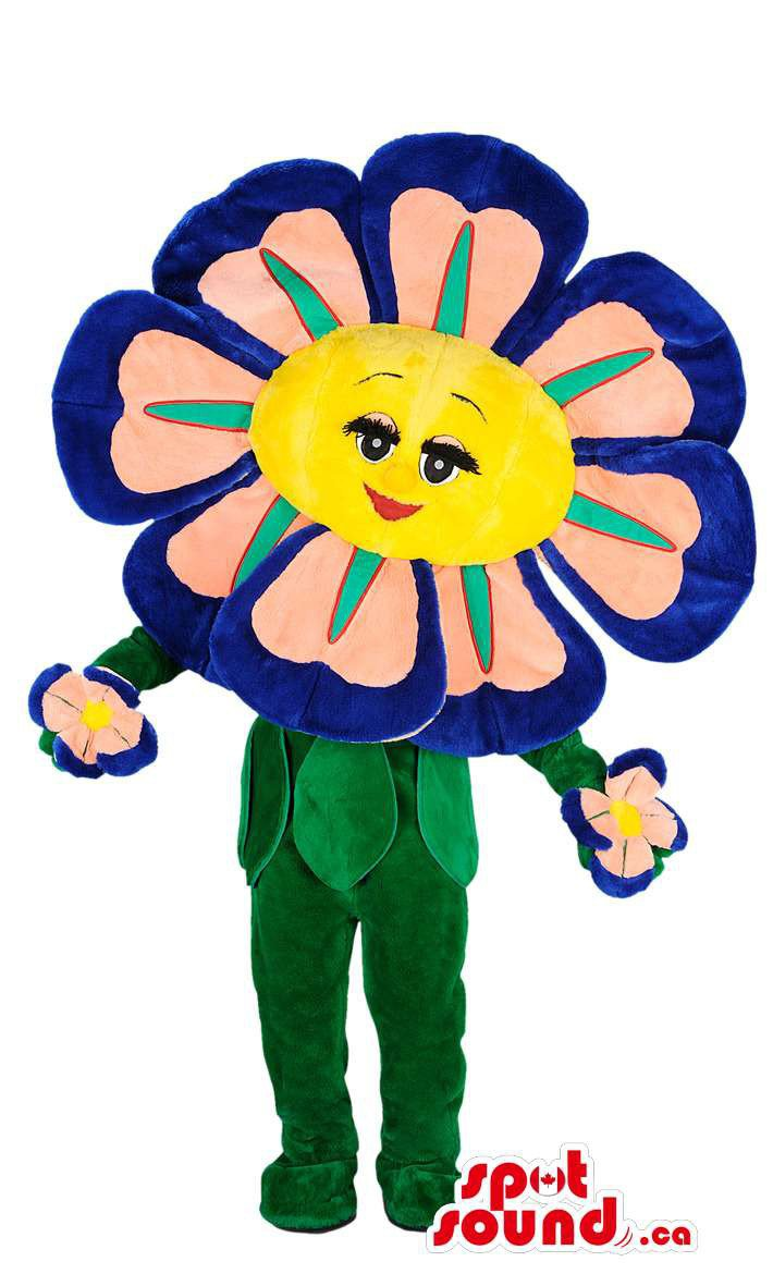 Flower Mascot SpotSound Canada With Blue Petals, Green Leaves And Lovely Face