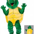 Green Turtle Mascot SpotSound Canada With Yellow Shell And Large Eyes
