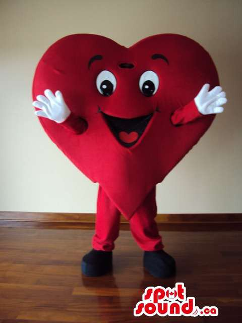 Red Heart Mascot SpotSound Canada With Arms And Eyes And White Gloves
