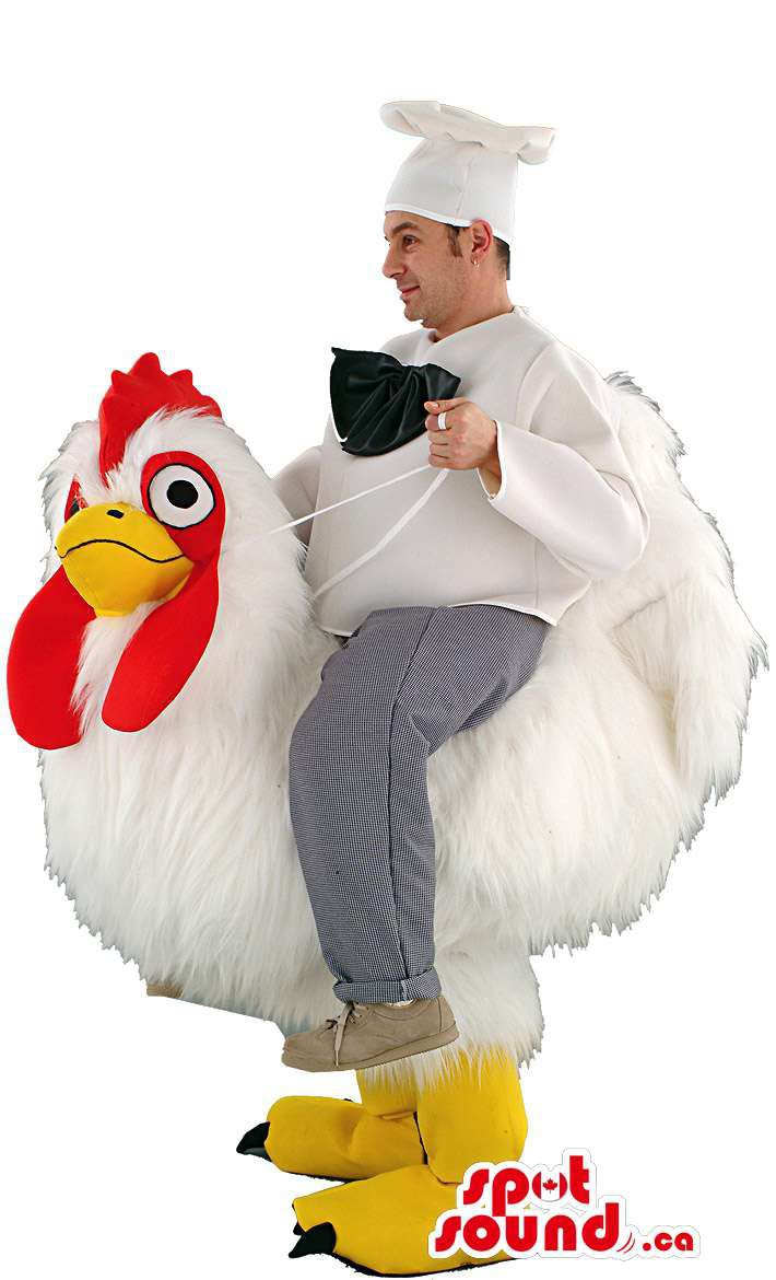 White Hen Mascot SpotSound Canada With Human Walker Chef Cook On Top