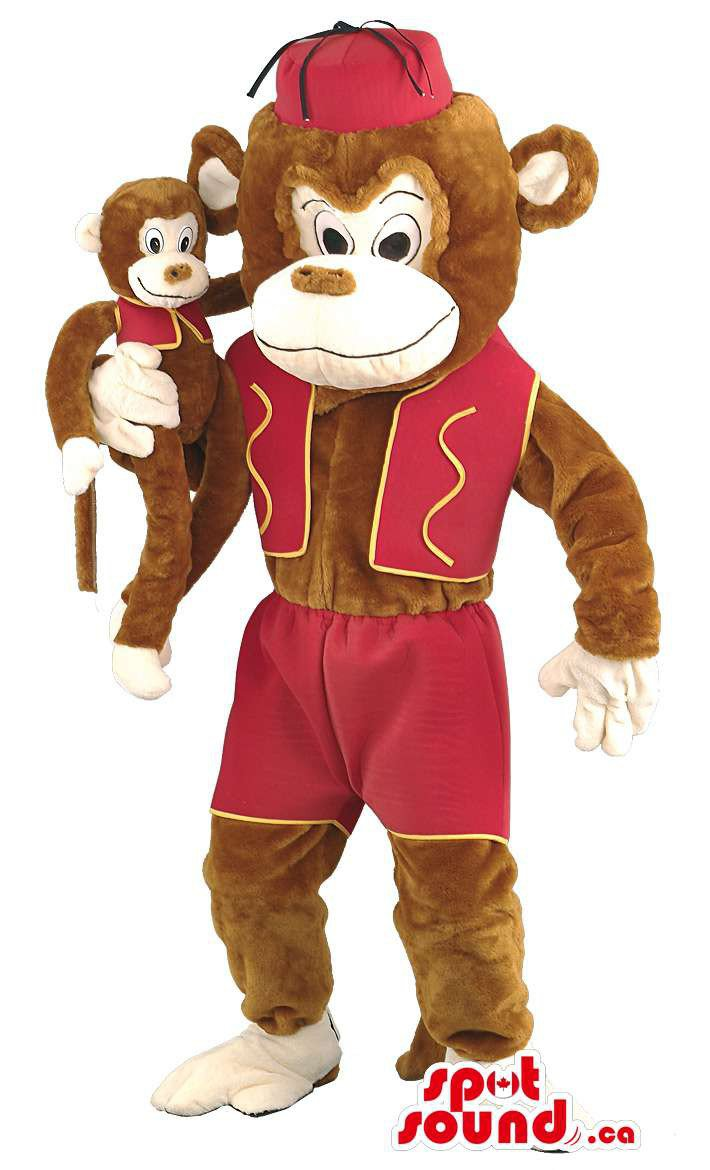 Brown Monkey Mascot SpotSound Canada With Circus Red Garment And Monkey Toy