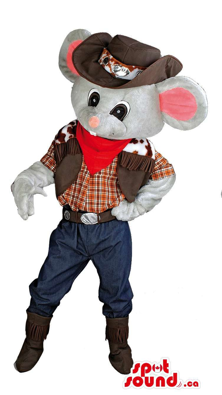 Grey Mouse Cowgirl Mascot SpotSound Canada With Hat, Boots And Clothing