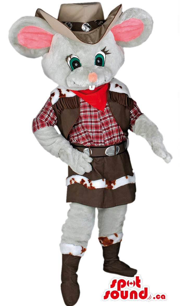 Grey Mouse Cowboy Mascot SpotSound Canada With Hat, Boots And Clothing