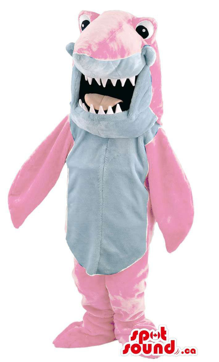 Pink Shark Mascot SpotSound Canada With Jaws And Large Round Ball Eyes