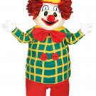 Clown Mascot SpotSound Canada With Red Bow Dressed In A Green And Yellow Jacket