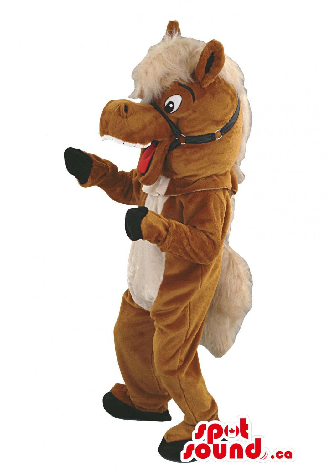 Customised Brown Horse Animal Mascot SpotSound Canada With Black Reins