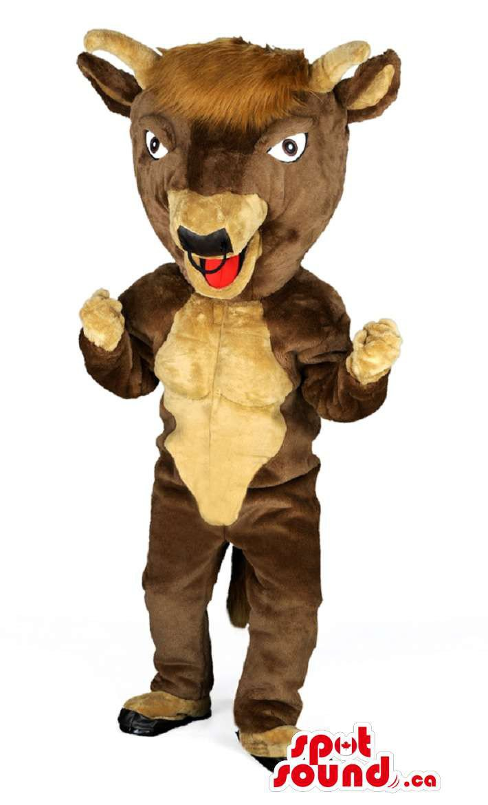 Brown Goat Animal Mascot SpotSound Canada With Horns Bad Red Tongue