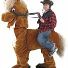 Brown Horse Mascot SpotSound Canada With Red Tongue And Human Walker Riding