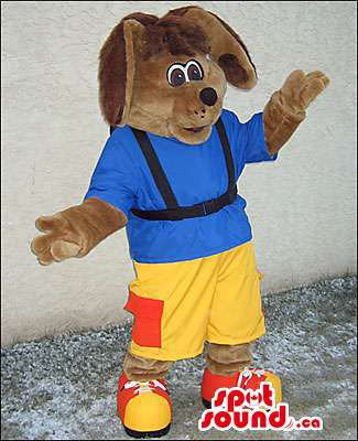 Brown Dog Mascot SpotSound Canada With Blue T-Shirt And Yellow Pants