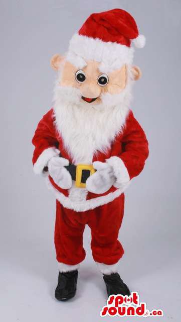 Santa Claus Mascot SpotSound Canada Cartoon Character With White Beard And Red Gear