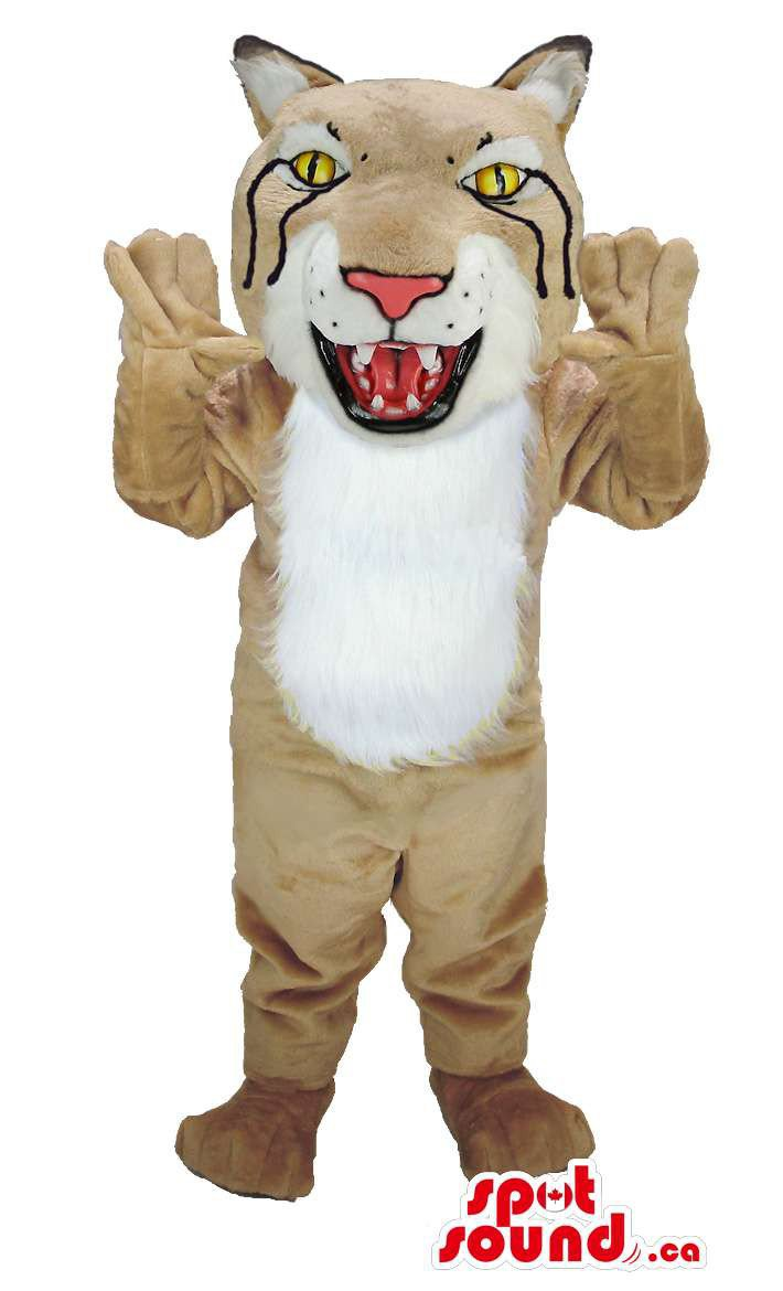 Lynx Animal Mascot SpotSound Canada With Beige Fur And White Collar