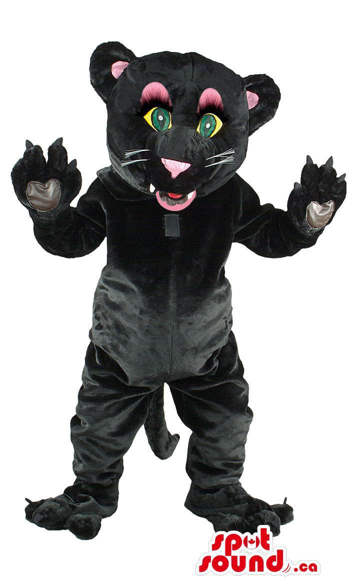 Black Panther Animal Mascot SpotSound Canada With Pink Ears And Green Eyes