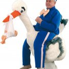 Postman And Stork Human Walker Mascot SpotSound Canada With Toddler Doll