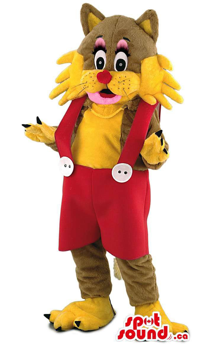 Brown And Yellow Cat Animal Mascot SpotSound Canada With Red Pants And Suspenders