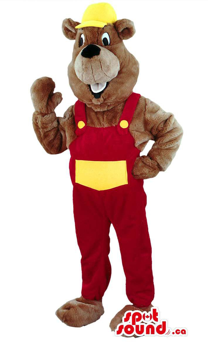 Brown Beaver Animal Mascot SpotSound Canada With Red And White Worker Gear