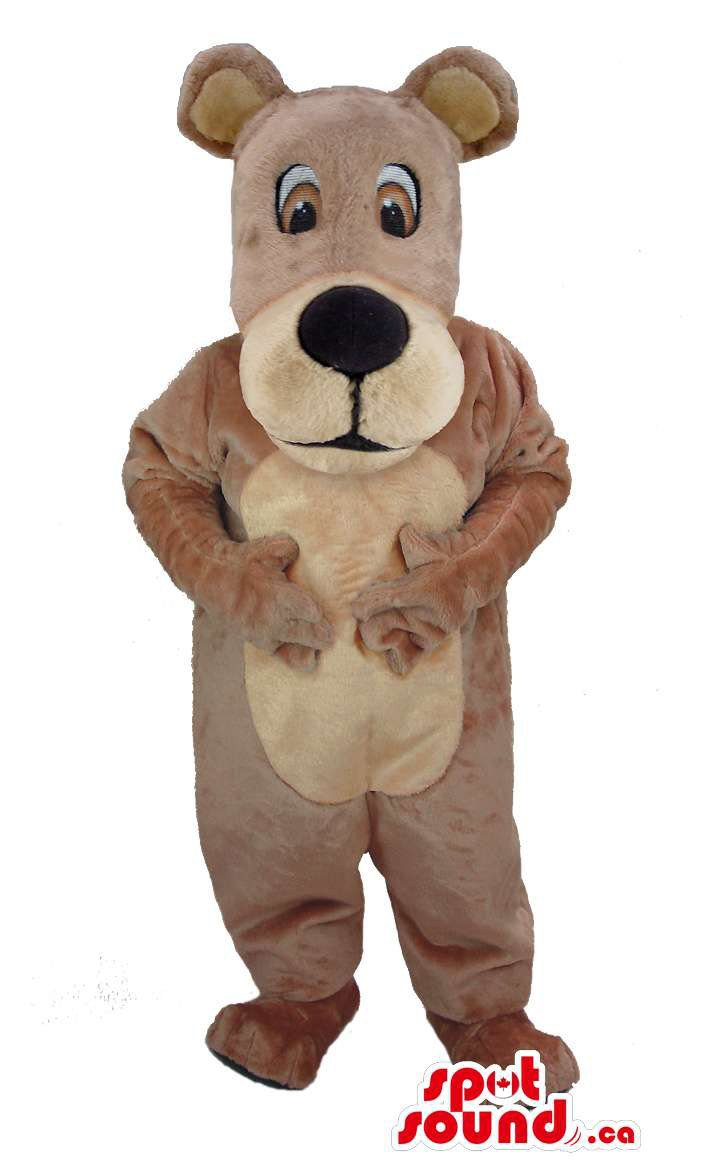 Brown And Beige Bear Forest Mascot SpotSound Canada With Long Face And Round Ears