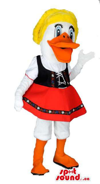 A Girl Duck In Typical Tirol Woman Gadgets And Clothes