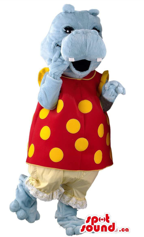 Grey Hippopotamus Girl Mascot SpotSound Canada With Customised Gear